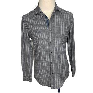 DKNY Gray Striped Dress Shirt XL Slim Fit.